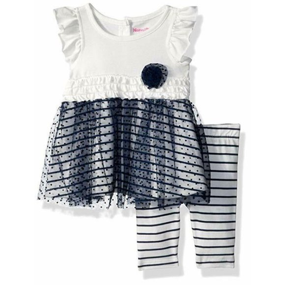 Baby Girls Outfit Nannette 2 Piece Empire Tunic and Leggings Outfit 12 Mths